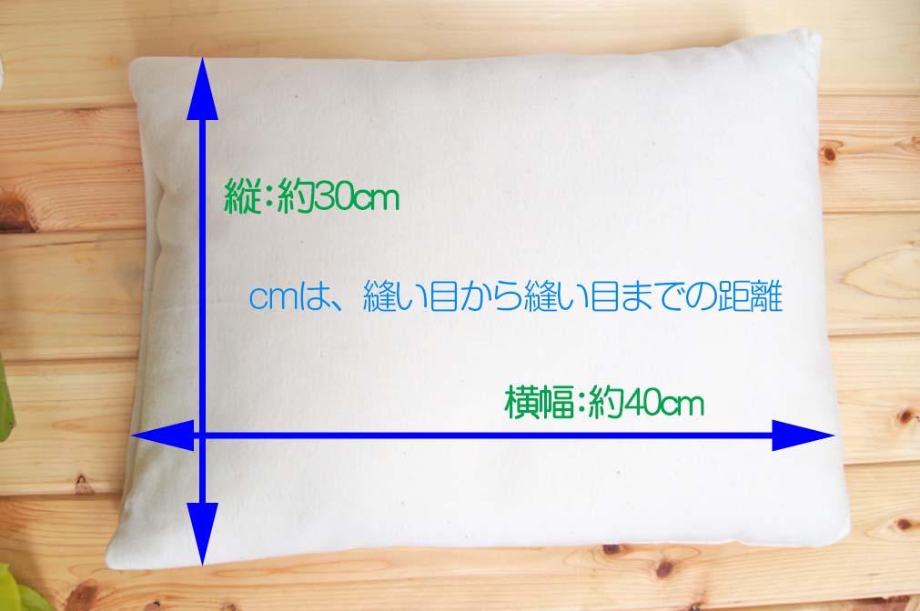 パンヤ枕のサイズ画像