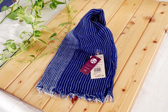 手紡ぎ ストール 藍染 藍ストライプ 男女兼用