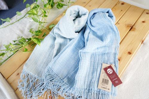 手紡ぎ ストール 藍染 藍 男女兼用