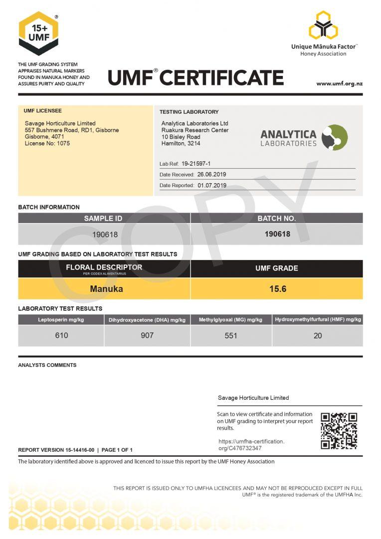 UMF Certificate